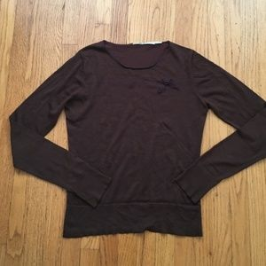 Brown Long sleeve Max Studio Blouse, Purple Bow
